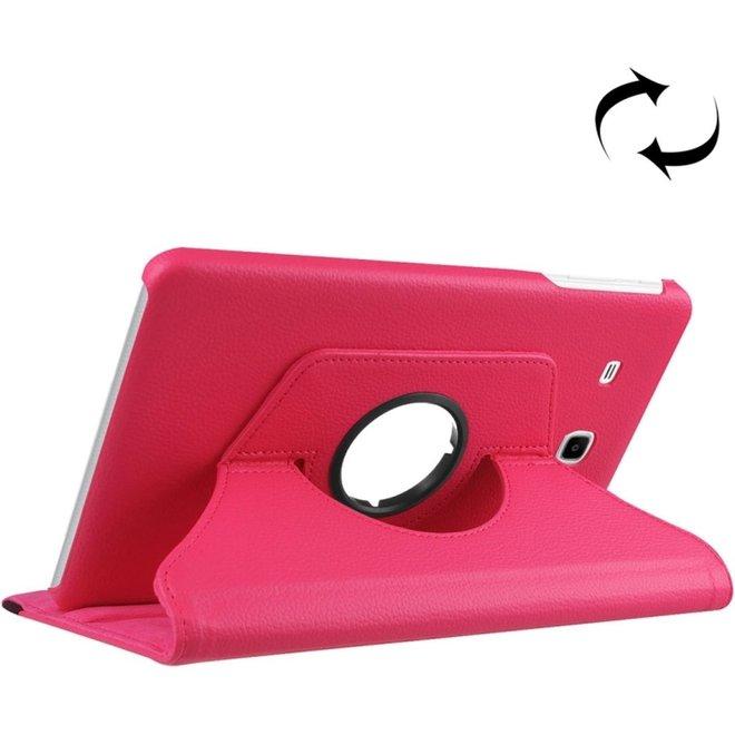 Voor Samsung Galaxy Tab A 7.0 (2016) / T280 / T285 360 graden draaibaar Litchi structuur horizontaal spiegelen effen Kleur lederen hoesje met houder (hard roze) (T280/T285)