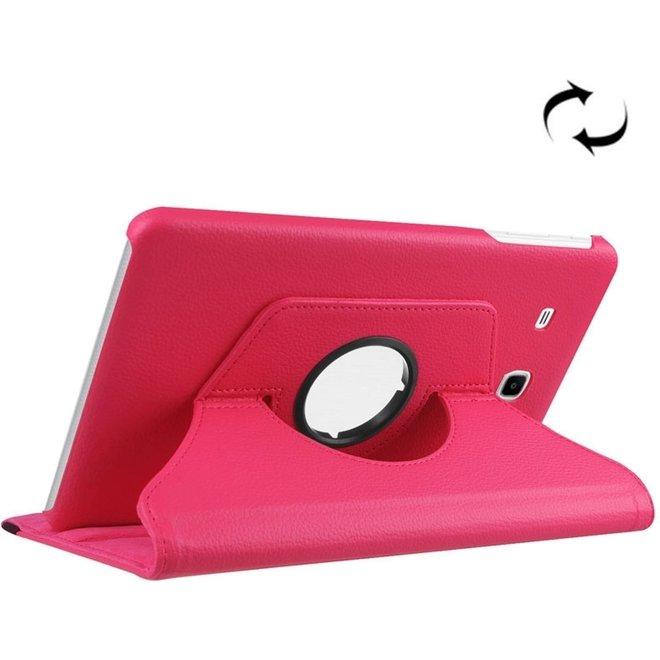 Samsung Galaxy Tab E 9.6 / T560 horizontaal Litchi structuur PU leren Flip Hoesje met 360 graden draaiende houder (hard roze) (T560/T561)