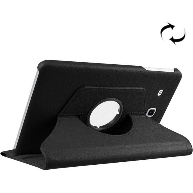 Samsung Galaxy Tab E 9.6 / T560 horizontaal Litchi structuur PU leren Flip Hoesje met 360 graden draaiende houder (zwart) (T560/T561)