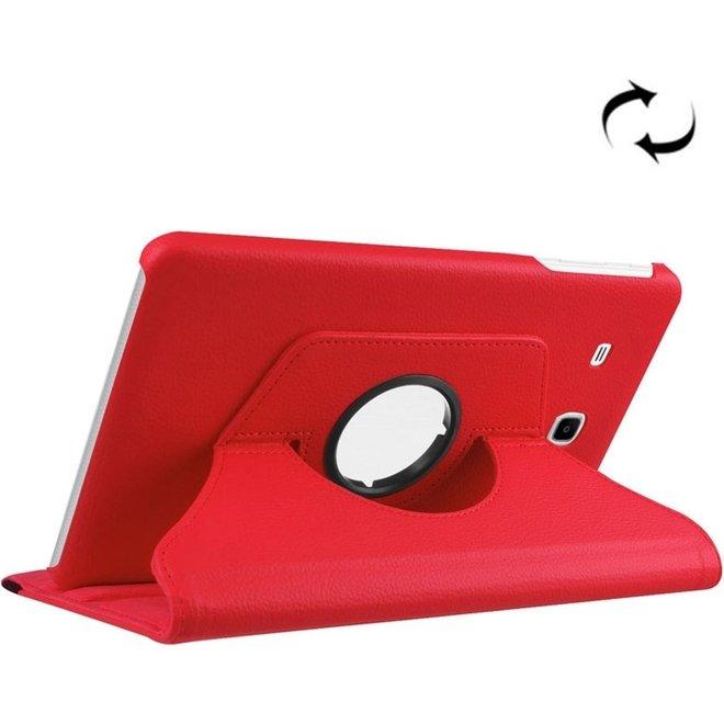 Samsung Galaxy Tab E 9.6 / T560 horizontaal Litchi structuur PU leren Flip Hoesje met 360 graden draaiende houder (rood) (T560/T561)