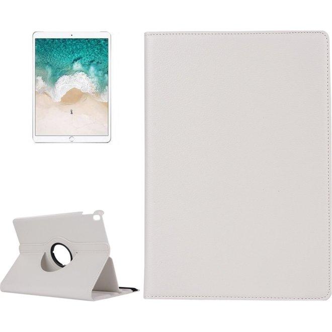iPad Pro 10.5 inch horizontaal 360 graden draaiend Litchi structuur PU leren Flip Hoesje met houder Wit