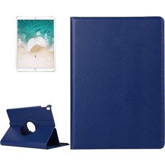 iPad Pro 10.5 inch horizontaal 360 graden draaiend Litchi structuur PU leren Flip Hoesje met houder (marine blauw)