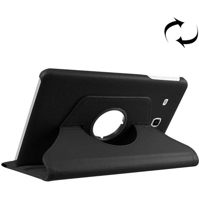 Voor Samsung Galaxy Tab A 7.0 (2016) / T280 / T285 360 graden draaibaar Litchi structuur horizontaal spiegelen effen Kleur lederen hoesje met houder(zwart) (T280/T285)