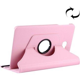 Voor Samsung Galaxy Tab A 10.1 / T580 Litchi structuur horizontaal spiegelen 360 graden draaibaar lederen hoesje met houder(roze)