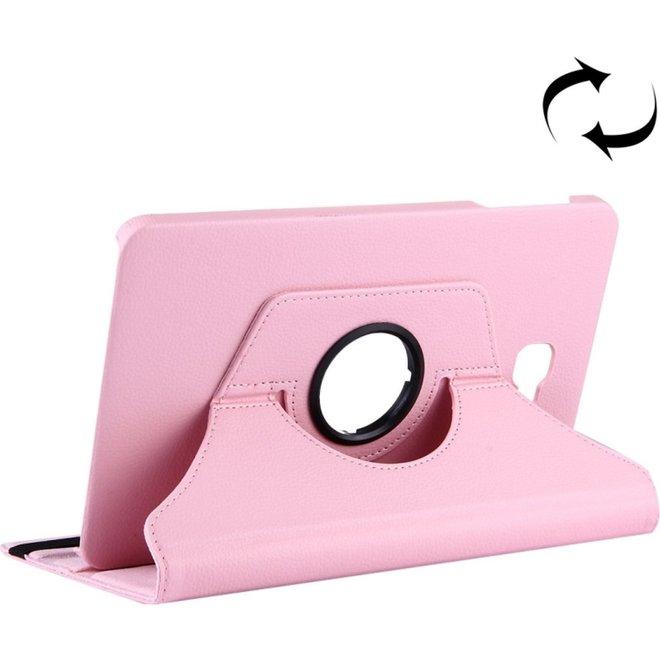 Voor Samsung Galaxy Tab A 10.1 / T580 Litchi structuur horizontaal spiegelen 360 graden draaibaar lederen hoesje met houder(roze) (T580)
