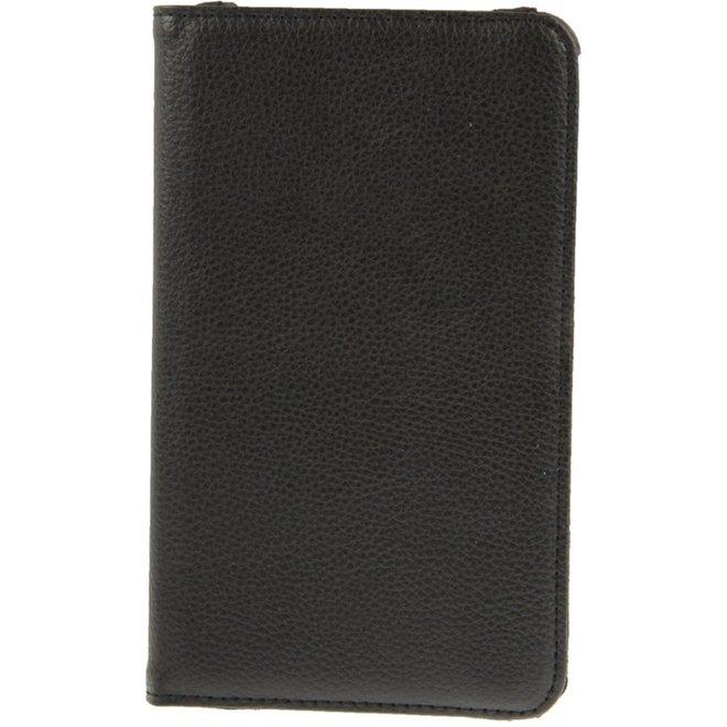 360 graden draaiend Litchi structuur lederen hoesje met houder voor Samsung Galaxy Tab 4 7.0 / SM-T230 (zwart) (T230)