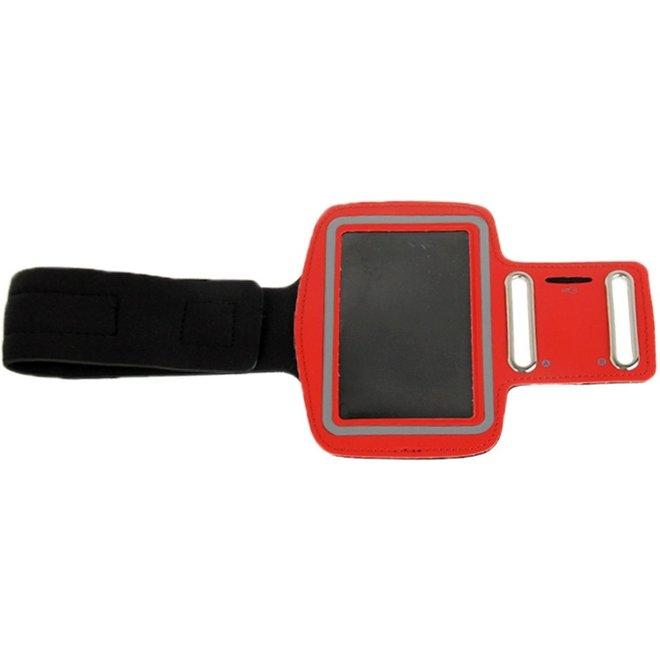 universeel PU Sports Armband hoesje met Koptelefoon Hole voor Samsung Galaxy S IV / i9500 / i9300 (rood)