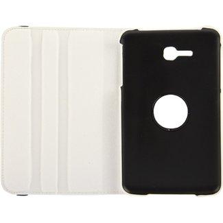 360 graden draaiend Litchi structuur lederen hoesje met houder voor Samsung Galaxy Tab 3 Lite T110 / T111 wit (NNT)