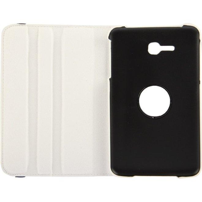 360 graden draaiend Litchi structuur lederen hoesje met houder voor Samsung Galaxy Tab 3 Lite T110 / T111 wit (T110/T111)