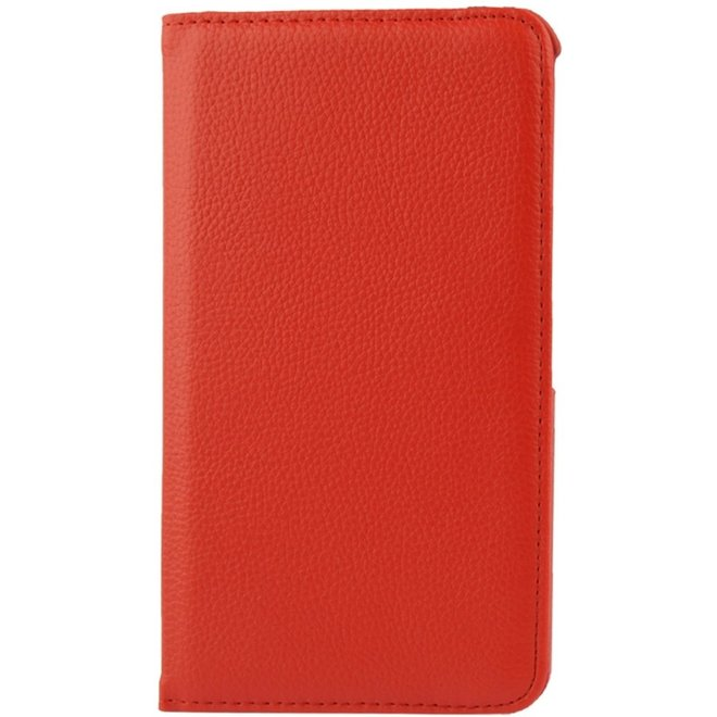 360 graden draaiend Litchi structuur lederen hoesje met houder voor Samsung Galaxy Tab 4 7.0 / SM-T230 (rood) (T230)