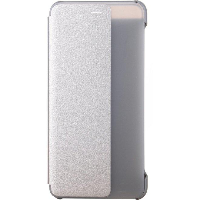Huawei P10 Plus horizontaal Kunststof + PU leren Flip Hoesje met handig kijkvenster (zilverkleurig)