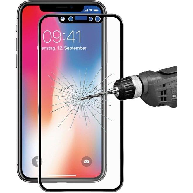 ENKAY Hat-Prins voor iPhone X 0,2 mm 9H oppervlakte hardheid 3D Titanium legering rand volledige dekking getemperd glas Front scherm Protector(Black)