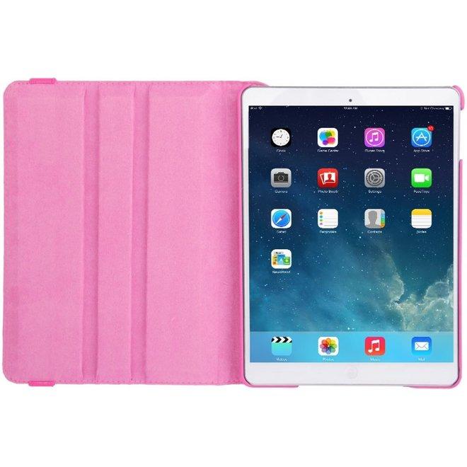 Let op type!! 360 graden draaiend Litchi structuur lederen hoesje met 2 Gears houder voor iPad Air(hard roze)