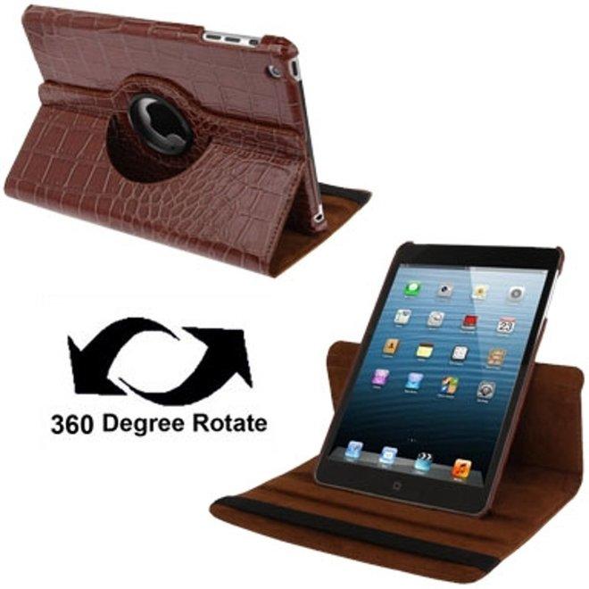 krokodil structuur 360 graden draaiend lederen hoesje met houder voor iPad mini 1 / 2 / 3(bruin)