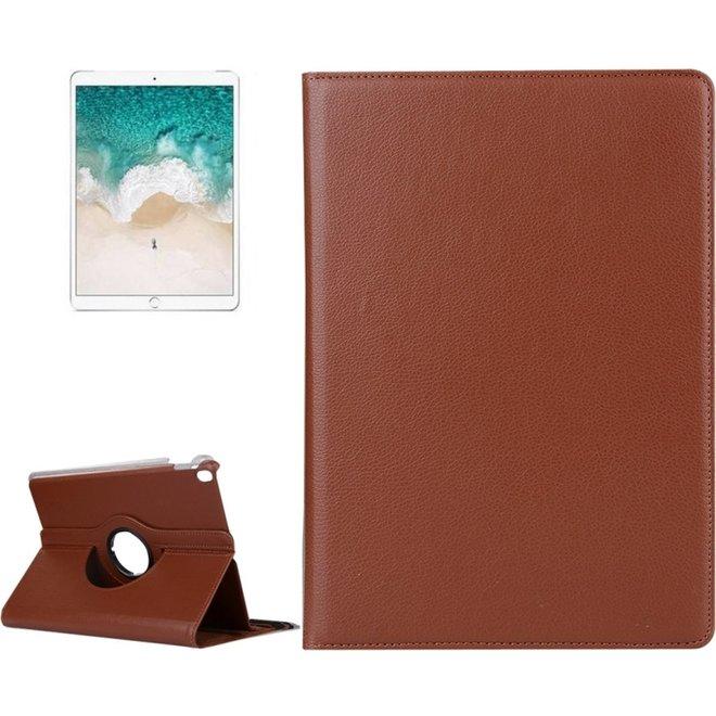 iPad Pro 10.5 inch horizontaal 360 graden draaiend Litchi structuur PU leren Flip Hoesje met houder (bruin)