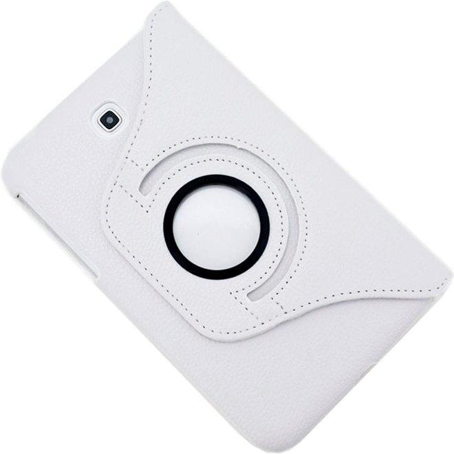 360 graden draaibaar Lichi structuur lederen hoesje met houder voor Samsung Galaxy Tab 3 (7.0) / P3200 / P3210wit (P3200/P3210)