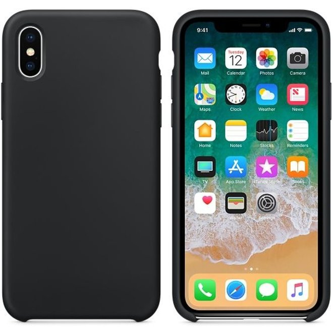 Hoogwaardige iPhone X / Xs Silicone Case Cover Hoes - Zwart