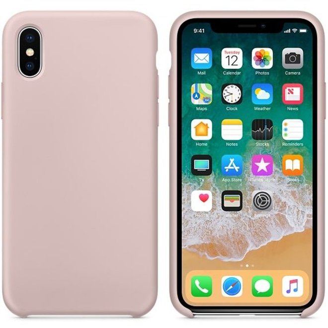 Hoogwaardige Soft Touch iPhone X / Xs Silicone Case Cover Hoes Lichtroze (Pink Sand)