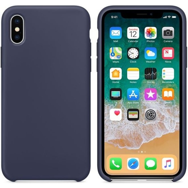 Hoogwaardige iPhone X / Xs Silicone Case Cover Hoes Donkerblauw (Midnight Blue)