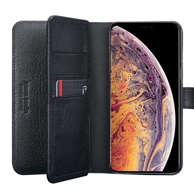iPhone Xs Max Pierre Cardin Genuine Leather Dubbel boek zwart hoesje