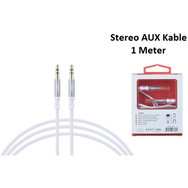 Stereo AUX Kable 3.5mm plug to 3.5mm plug Audiokabel UNIQ Accesory 1 Meter wit