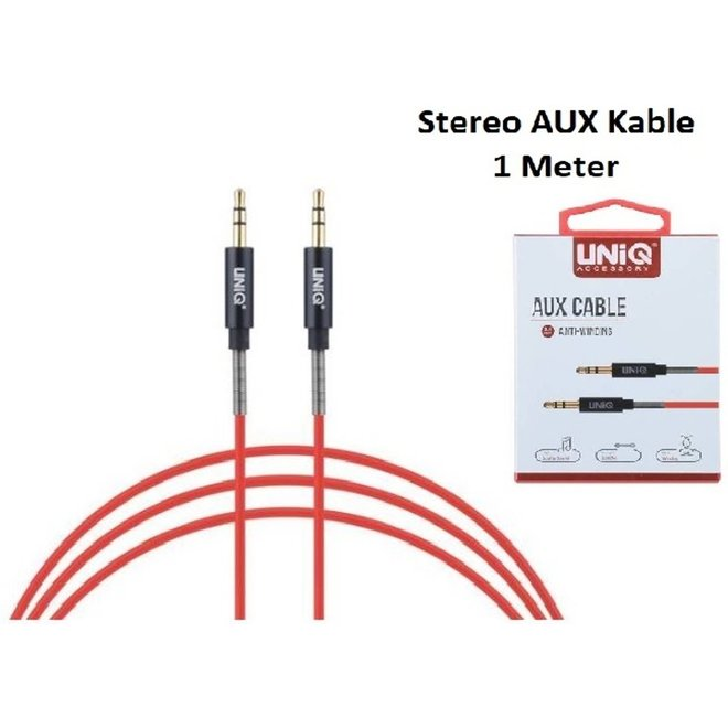 Stereo AUX Kable 3.5mm plug to 3.5mm plug Audiokabel UNIQ Accesory 1 Meter Rood