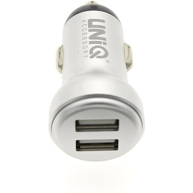 UNIQ witte autolader 2.4 A met dubbele USB ingang