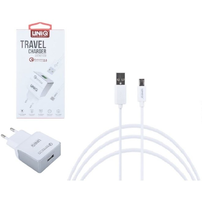 UNIQ Accesory Thuislader Micro USB  - Wit  2,4A + micro kabel naar USB-kabel 1 meter