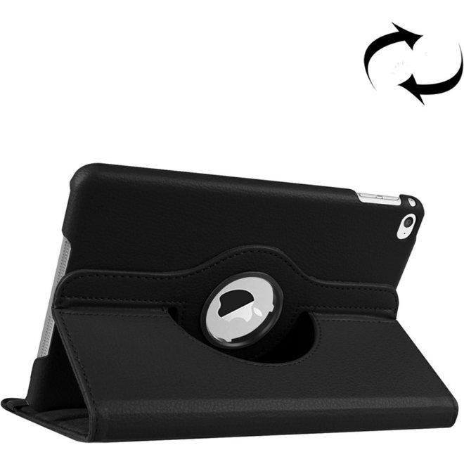 Litchi structuur 360 graden draaiend Smart lederen hoesje met houder voor iPad mini 4(zwart)