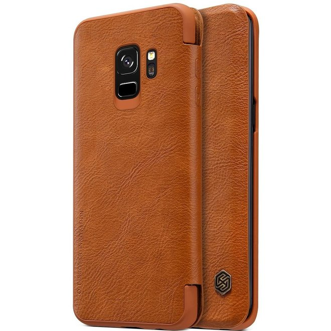 Hoesje voor Samsung Galaxy S9, Nillkin Qin series bookcase, cognac bruin