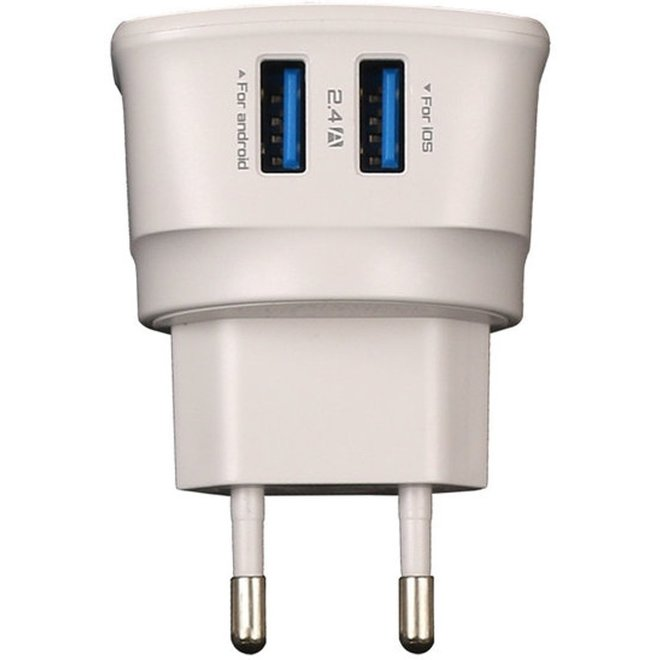 2 USB Oplader Stekker Thuislader met LED - Samsung Galaxy S/S3/S4/S5/S6/Note/Note3/Note4