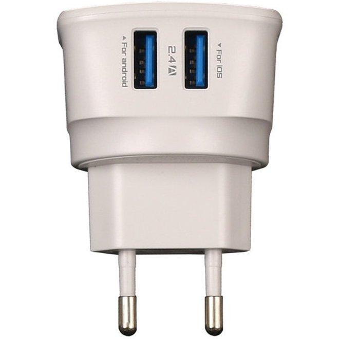 2 USB Oplader Stekker Thuislader met LED - Xiaomi