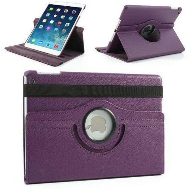 iPad Air Hoes Cover Multi-stand Case  360 graden draaibare Beschermhoes Paars