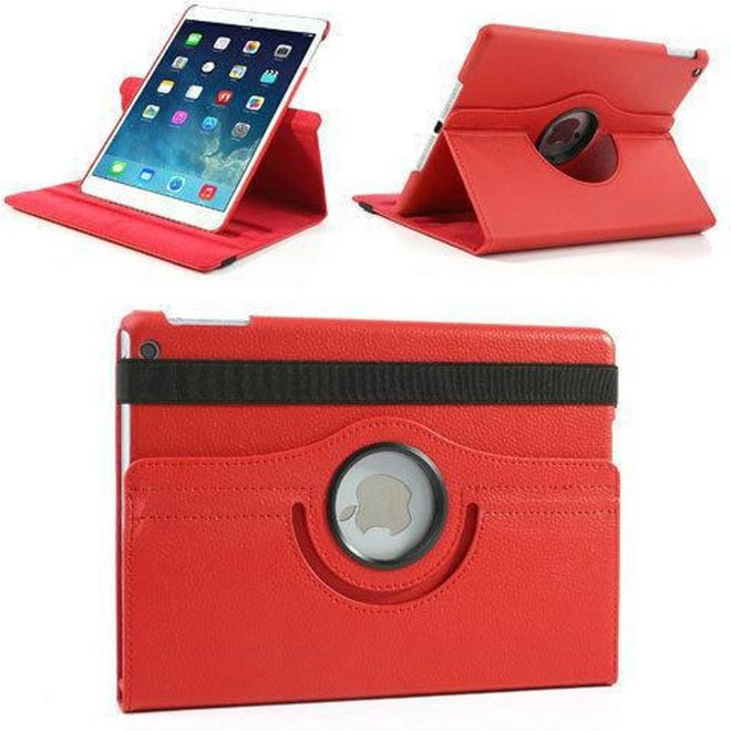 iPad Air Hoes Cover Multi-stand  Case 360 graden draaibare Beschermhoes Rood