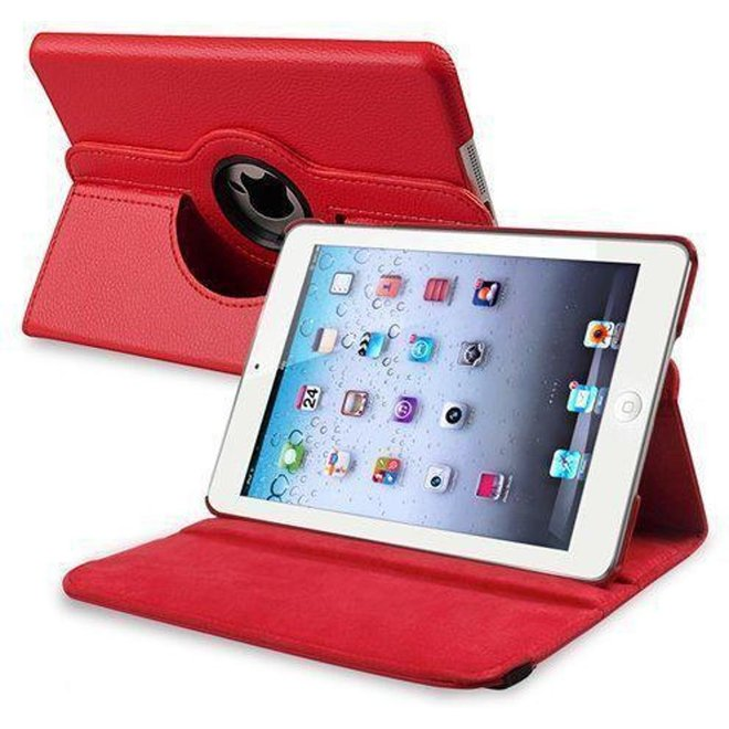 iPad Mini 2 Hoes Cover Multi-stand Case  360 graden draaibare Beschermhoes Rood