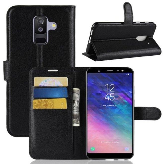 Samsung Galaxy A6 Plus (2018) Hoesje Zwart met Opbergvakjes