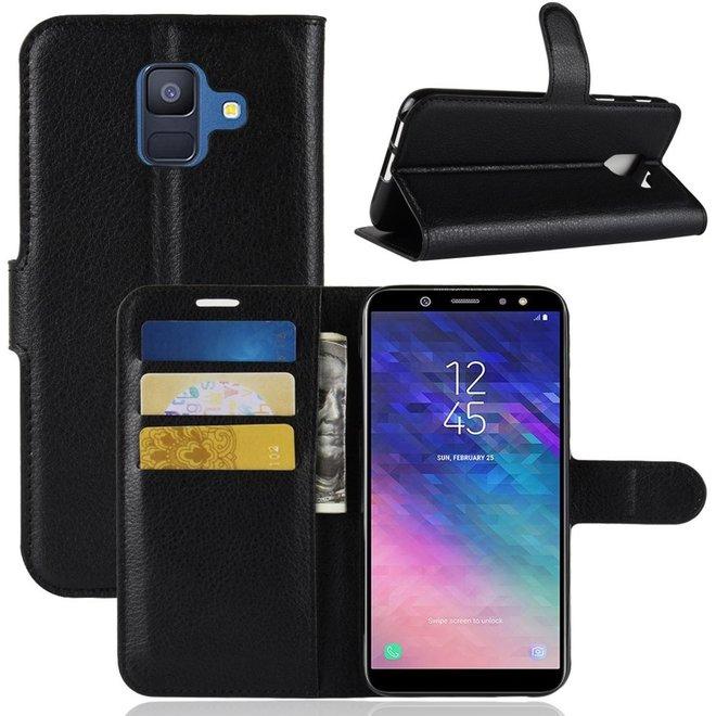 Samsung Galaxy A6 (2018) Hoesje Zwart met Pasjeshouder