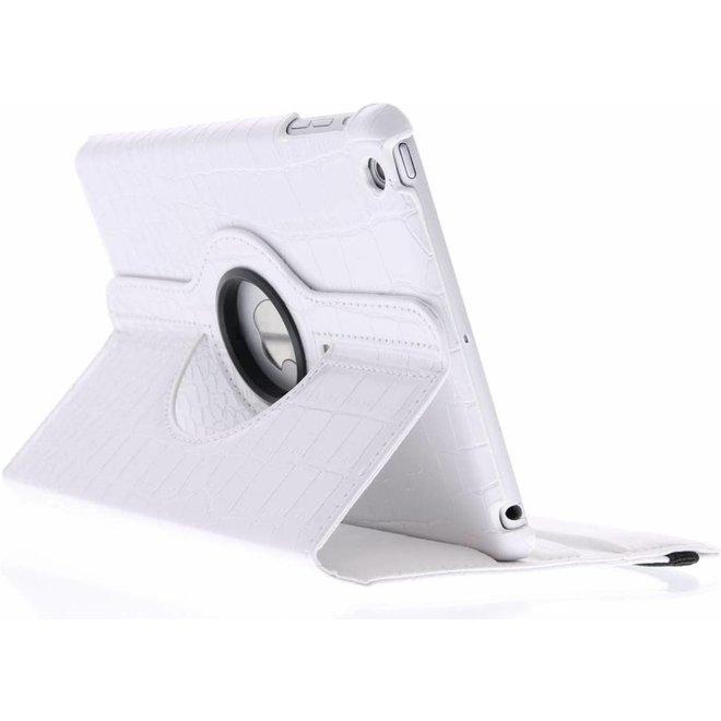 360 graden Draaibare krokodil Bookcase iPad Mini / 2 / 3 tablethoes - Wit