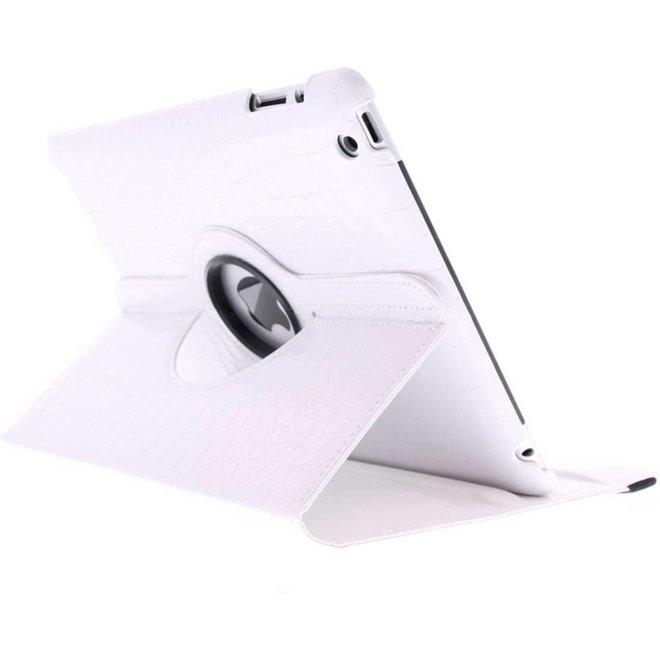 360 graden Draaibare krokodil Bookcase iPad 2 / 3 / 4 tablethoes - Wit