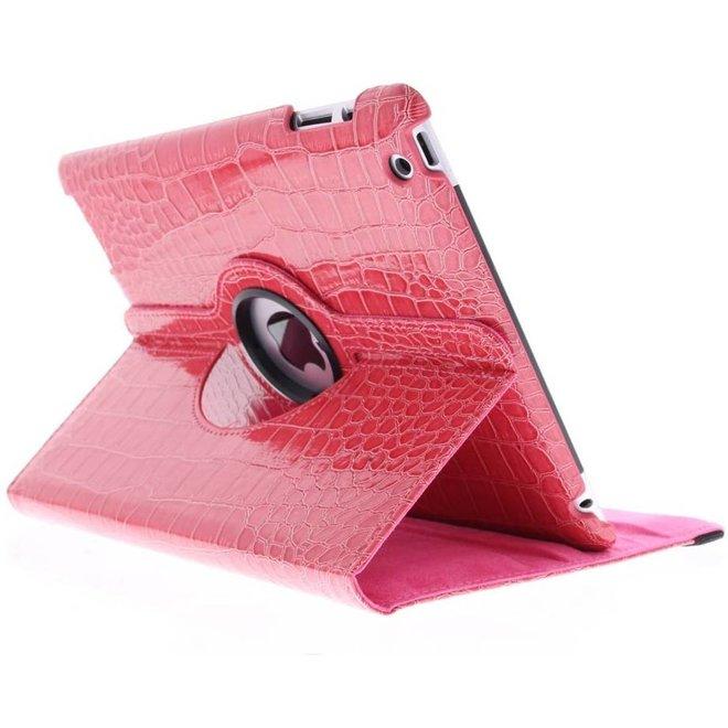 360° Draaibare krokodil Bookcase iPad 2 / 3 / 4 tablethoes - Rood