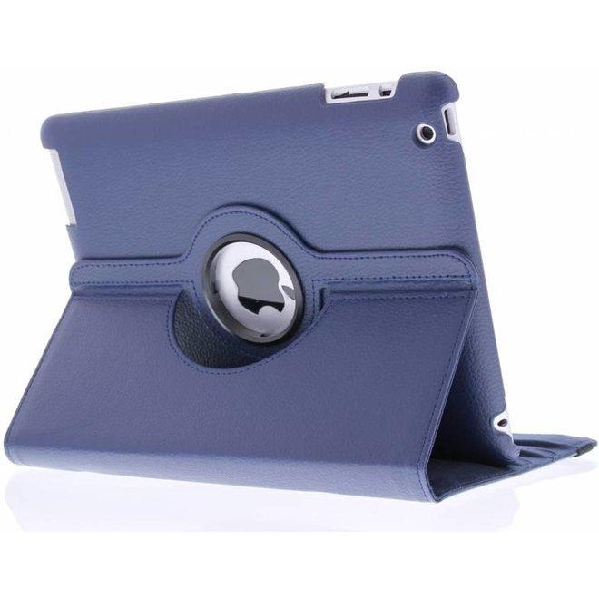 360 graden Draaibare Bookcase iPad 2 / 3 / 4 tablethoes - Blauw