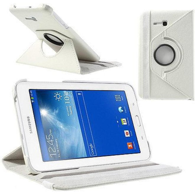 Samsung Galaxy Tab 3 7.0 Lite T110 T111 Hoes Cover 360 graden draaibare Case Beschermhoes wit (T110/T111)