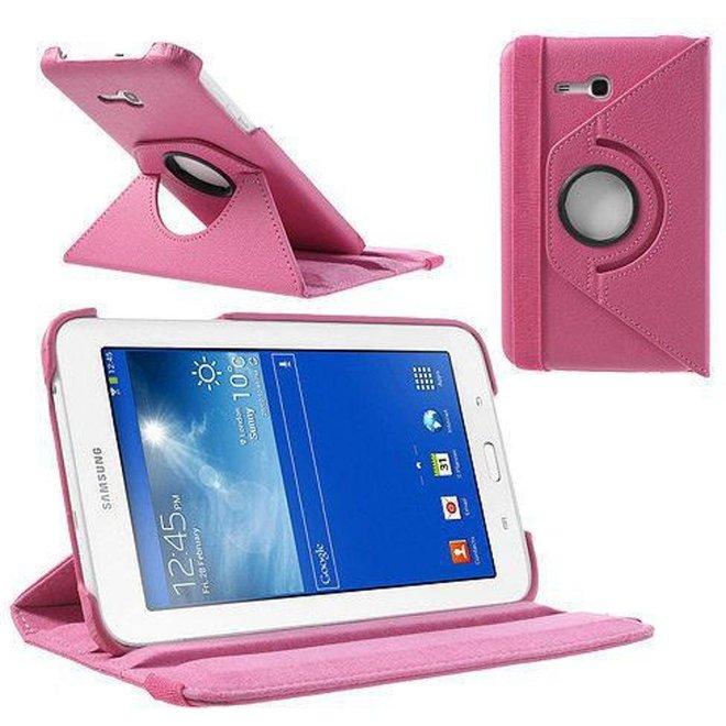 Samsung Galaxy Tab 3 7.0 Lite T110 T111 Hoes Cover 360 graden draaibare Case Beschermhoes roze (T110/T111)