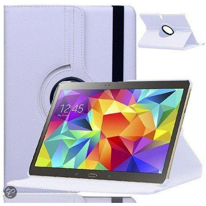 Samsung Galaxy Tab S 10.5 inch T800 / T805 Tablet Hoes Cover 360 graden draaibare Case Beschermhoes Wit (T800)