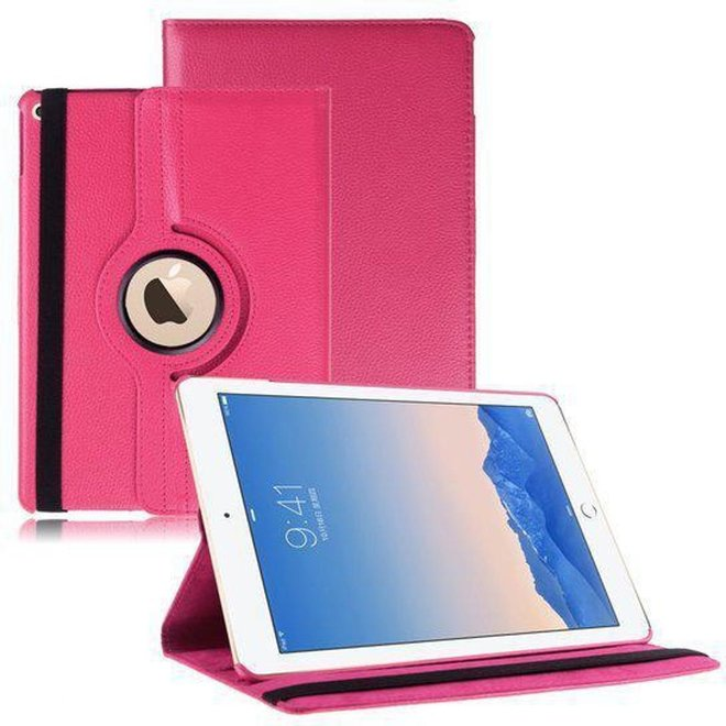 iPad Air 2 Hoes Cover Multi-stand Case 360 graden draaibare Beschermhoes donker roze