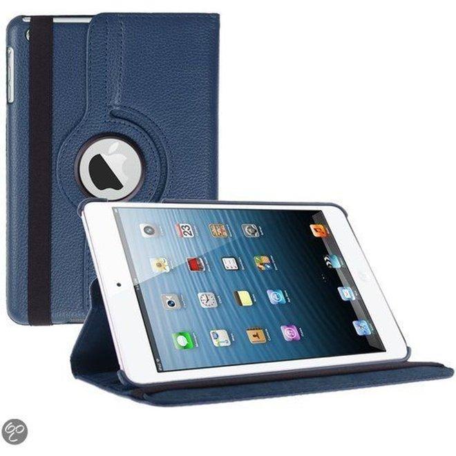 iPad Mini 1 2 en 3 Hoes Cover Multi-stand Case 360 graden draaibare Beschermhoes donker blauw