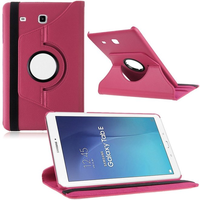 Samsung Galaxy Tab E 9.6 Inch SM - T560 / T561 Hoes Cover 360 graden draaibare Case Donker Roze (T560/T561)