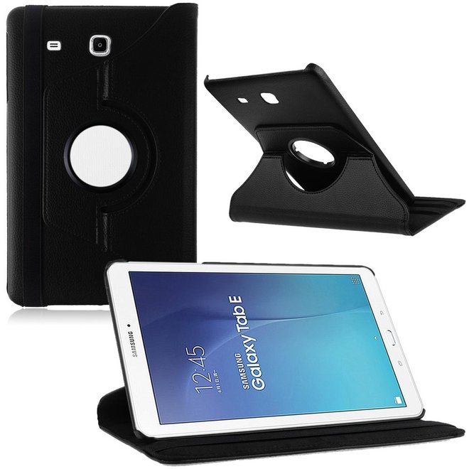 Samsung Galaxy Tab E 9.6 Inch SM - T560 / T561 Hoes Cover 360 graden draaibare Case Zwart (T560/T561)