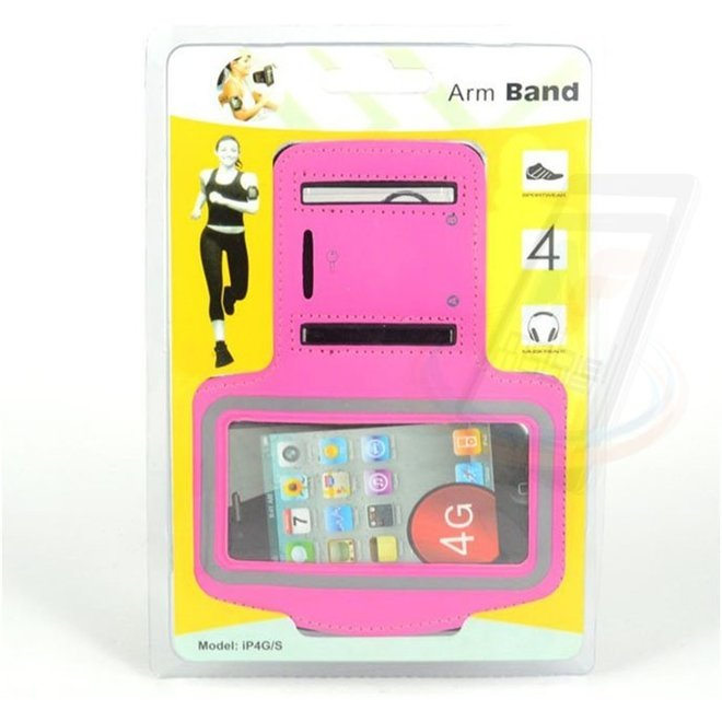 Apple iPhone 4G-S - iPh 4G-S - Sportief Armband - Roze