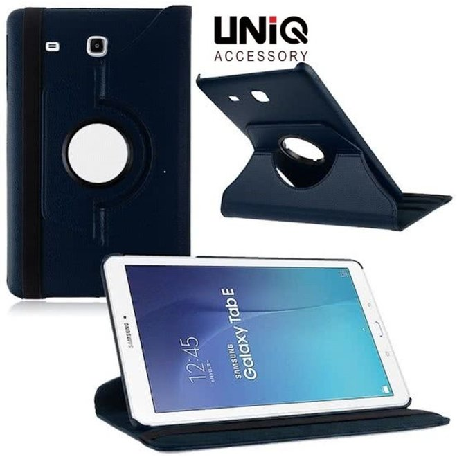 Samsung Galaxy Tab E 9.6 Inch Hoes Cover 360 graden draaibare Case donker - blauw